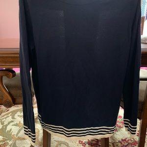 Boden USA 🇺🇸 Navy Blue sweater with cream stripe